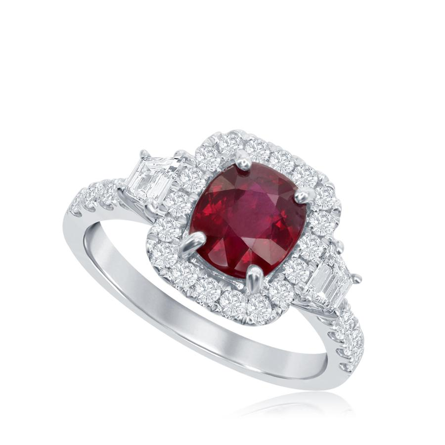 View Cushion Cut Ruby Ring with Trapezoid Side stones