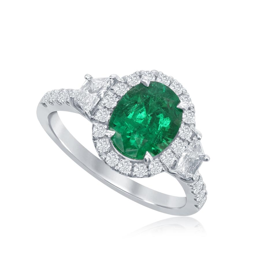 View Oval Emerald Ring with Trapezoid Side stones