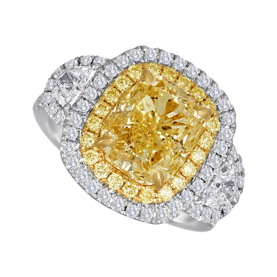 View Yellow Cushion & Halfmoon Three Stone Ring